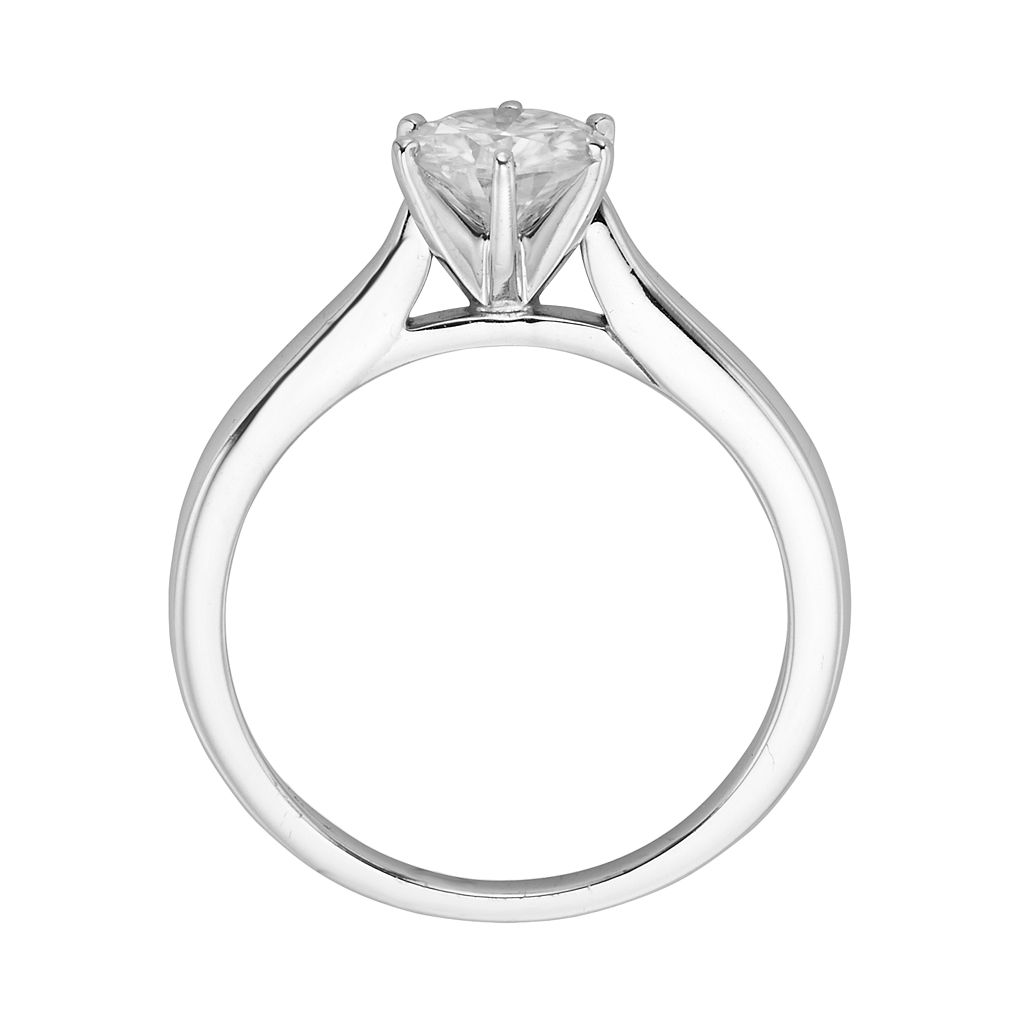 Forever Brilliant Round-Cut Lab-Created Moissanite Engagement Ring in 14k White Gold (1 ct. T.W.)