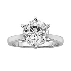 Forever Brilliant Round-Cut Lab-Created Moissanite Engagement Ring in 14k White Gold (3 1/9 ctT.W.)