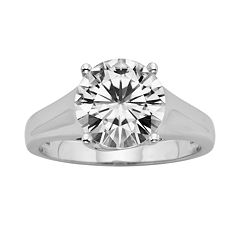 Forever Brilliant Round-Cut Lab-Created Moissanite Engagement Ring in 14k White Gold (3 1/10 ctT.W.)