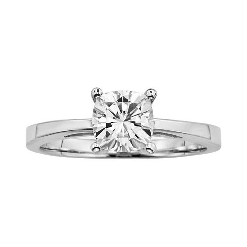 Forever Brilliant Cushion-Cut Lab-Created Moissanite Engagement Ring in 14k White Gold (1 1/10 ct. T.W.)