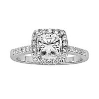 Forever Brilliant Cushion-Cut Lab-Created Moissanite Engagement Ring in 14k White Gold (1 4/9 ctT.W.)