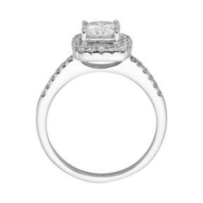 Forever Brilliant Cushion-Cut Lab-Created Moissanite Engagement Ring in 14k White Gold (1 4/9 ct. T.W.)
