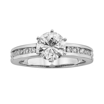Forever Brilliant Round-Cut Lab-Created Moissanite Engagement Ring in 14k White Gold (1 7/10 ct. T.W.)