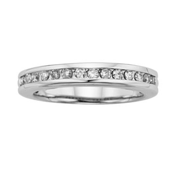 Forever Brilliant 14k White Gold 1/4-ct. T.W. Round-Cut Lab-Created Moissanite Band