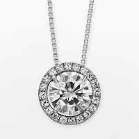 Forever Brilliant 14k White Gold Round-Cut 1 2/3 ctT.W. Lab-Created Moissanite Halo Pendant