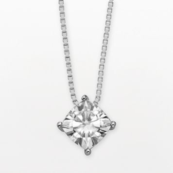 Forever Brilliant 14k White Gold Cushion-Cut 1 1/10-ct. T.W. Lab-Created Moissanite Pendant