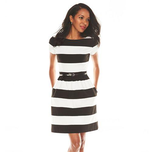 ELLE™ Striped Fit & Flare Ponte Dress