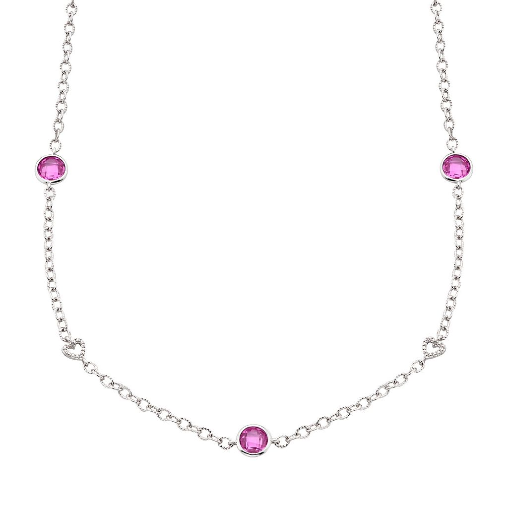 Silver-Plated Lab-Created Pink Sapphire & 1/10-ct. T.W. Diamond Heart Link Station Necklace