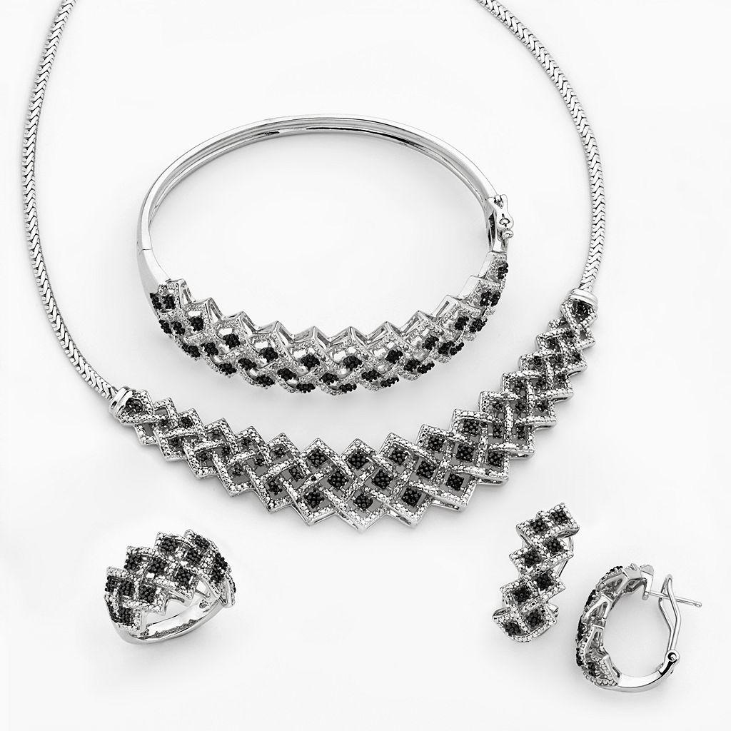 Silver-Plated 1-ct. T.W. Black & White Diamond Necklace, Bangle Bracelet, J-Hoop Earring & Ring Set