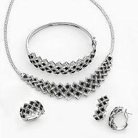 Silver-Plated 1 ctT.W. Black & White Diamond Necklace, Bangle Bracelet, J-Hoop Earring & Ring Set