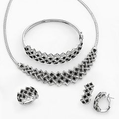 Silver-Plated 1 ctT.W. Black & White Diamond Necklace, Bangle Bracelet, J-Hoop Earring & Ring Set