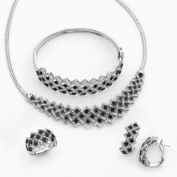 Silver-Plated 1-ct. T.W. Black and White Diamond Necklace, Bangle Bracelet, J-Hoop Earring and Ring Set