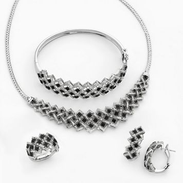 Silver-Plated 1-ct. T.W. Black & White Diamond Necklace, Bangle Bracelet, J-Hoop Earring & Ring Set