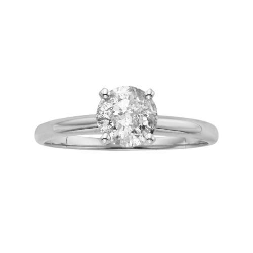 Certified Round Cut Diamond Solitaire Engagement Ring in 14k White