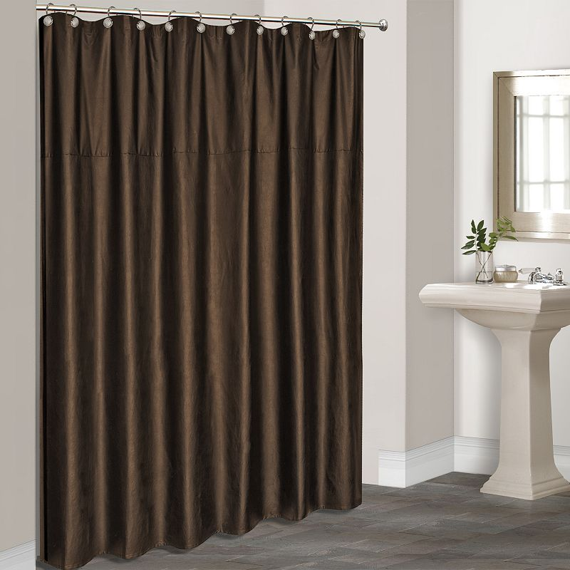 Brown Fabric Shower Curtain