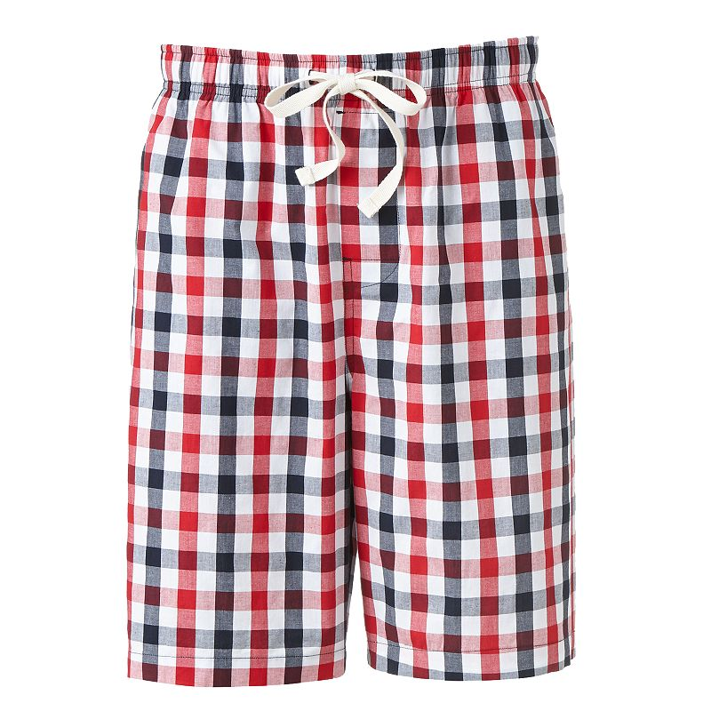 Croft & Barrow Gingham Woven Lounge Shorts - Big & Tall (Red)