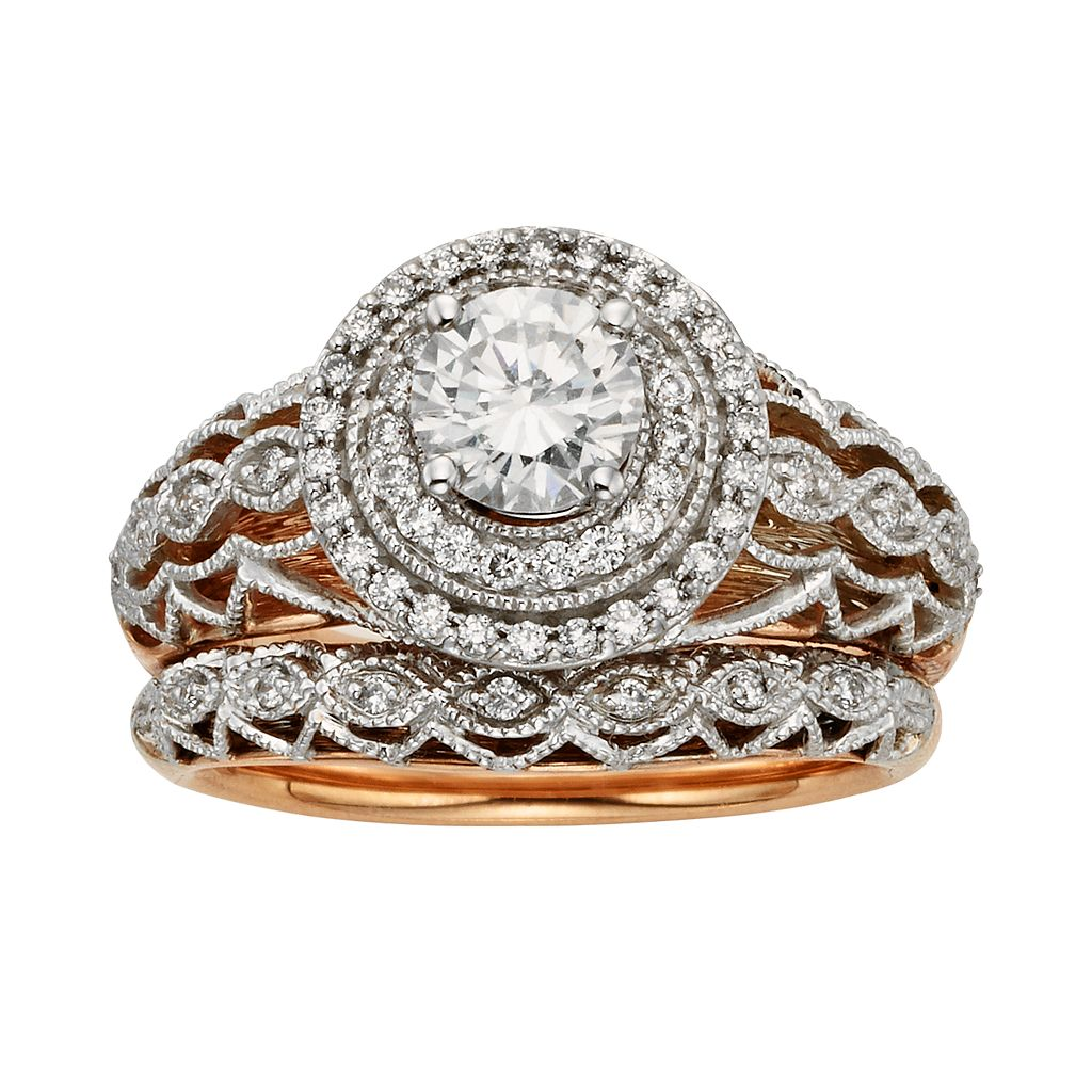 Diamonds & Lace Round-Cut IGL Certified Diamond Halo Engagement Ring Set in 14k Rose Gold & 14k White Gold (9/10 ct. T.W.)