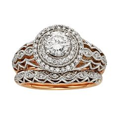Diamonds & Lace Round-Cut IGL Certified Diamond Halo Engagement Ring Set in 14k Rose Gold & 14k White Gold (9/10 ctT.W.)