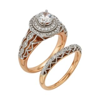 Diamonds And Lace Round-Cut IGL Certified Diamond Halo Engagement Ring Set in 14k Rose Gold and 14k White Gold (9/10 ct. T.W.)