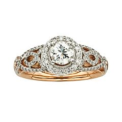 Diamonds & Lace Round-Cut IGL Certified Diamond Halo Engagement Ring in 14k Rose Gold & 14k White Gold (1 ct. T.W.)