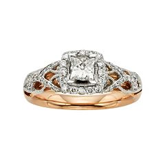 Diamonds & Lace IGL Certified Diamond Square Halo Engagement Ring in 14k White & Rose Gold (1 ct. T.W.)
