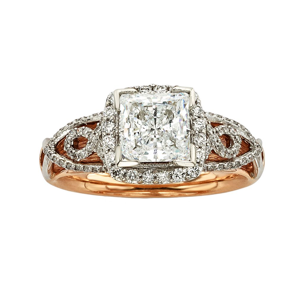 Diamonds & Lace Princess-Cut IGL Certified Diamond Halo Engagement Ring in 14k Rose Gold & 14k White Gold (1 1/2 ct. T.W.)