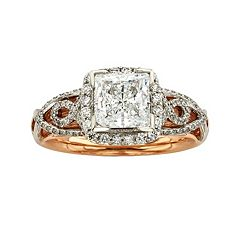 Diamonds & Lace Princess-Cut IGL Certified Diamond Halo Engagement Ring in 14k Rose Gold & 14k White Gold (1 1/2 ct. T.W.)