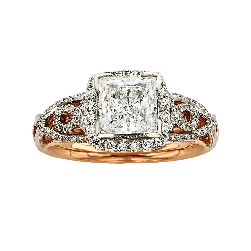 Princess-Cut IGL Certified Diamond Halo Engagement Diamonds And Lace ...