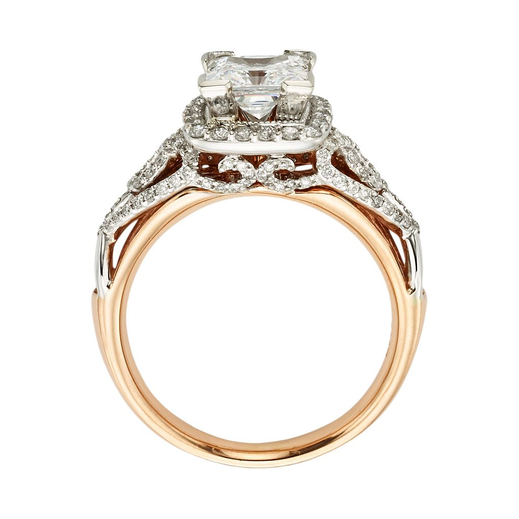 Diamonds And Lace Princess-Cut IGL Certified Diamond Halo Engagement Ring in 14k Rose Gold and 14k White Gold (1 1/2 ct. T.W.)
