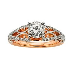 Diamonds & Lace Round-Cut IGL Certified Diamond Filigree Engagement Ring in 14k Rose Gold & 14k White Gold (1 1/4 ctT.W.)