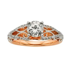 Diamonds And Lace Round-Cut IGL Certified Diamond Filigree Engagement Ring in 14k Rose Gold and 14k White Gold (1 1/4 ct. T.W.)