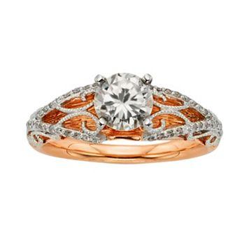 Diamonds & Lace Round-Cut IGL Certified Diamond Filigree Engagement Ring in 14k Rose Gold & 14k White Gold (1 1/4 ct. T.W.)