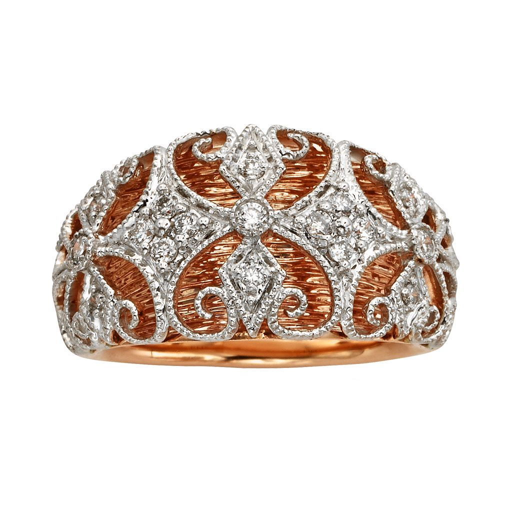 Diamonds & Lace 14k Rose Gold & 14k White Gold 1/4-ct. T.W. IGL Certified Diamond Filigree Dome Ring