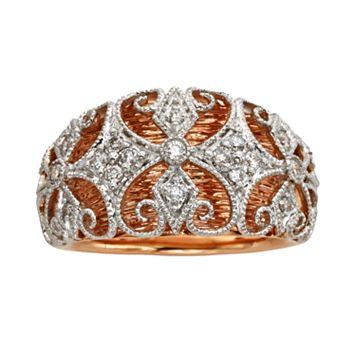 Diamonds & Lace 14k Rose Gold & 14k White Gold 1/4-ct. T.W. IGL Certified Diamond Filigree Dome Ring