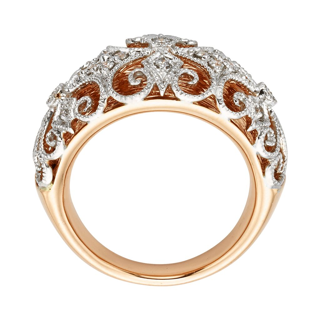 Diamonds And Lace 14k Rose Gold and 14k White Gold 1/4-ct. T.W. IGL Certified Diamond Filigree Dome Ring