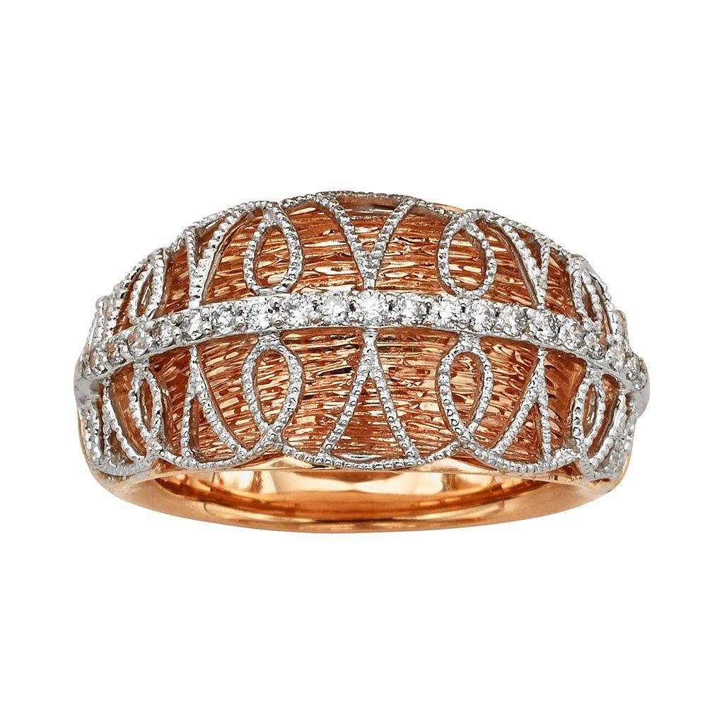 Diamonds & Lace 14k Rose Gold & 14k White Gold 1/5-ct. T.W. IGL Certified Diamond Dome Ring