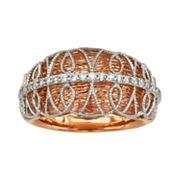 Diamonds & Lace 14k Rose Gold & 14k White Gold 1/5 ctT.W. IGL Certified Diamond Dome Ring