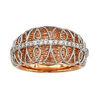 Diamonds & Lace 14k Rose Gold & 14k White Gold 1/5-ct. T.W. IGL Certified Diamond Dome Ring