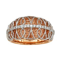 Diamonds & Lace 14k Rose Gold & 14k White Gold 1/5 ctT.W. IGL Certified Diamond Dome Ring