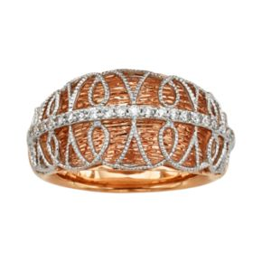 Diamonds And Lace 14k Rose Gold and 14k White Gold 1/5-ct. T.W. IGL Certified Diamond Dome Ring