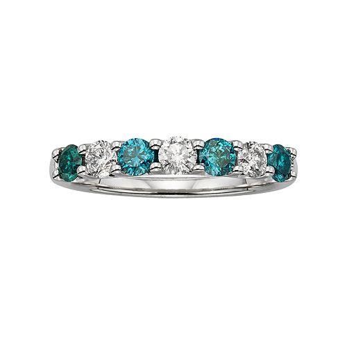 14k White Gold 1-ct. T.W. IGL Certified Blue & White Diamond Ring
