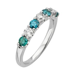 14k White Gold 1-ct. T.W. IGL Certified Blue and White Diamond Ring