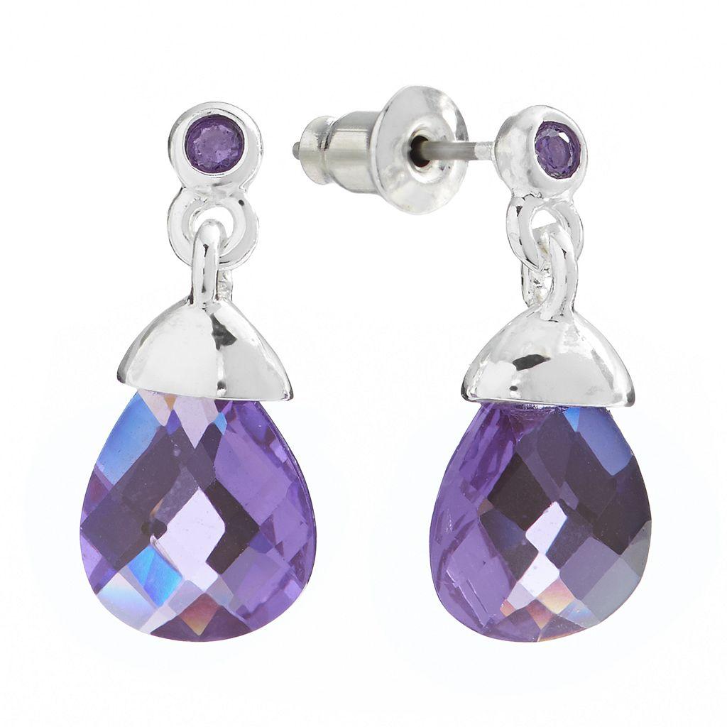 Silver Tone Cubic Zirconia Teardrop Earrings