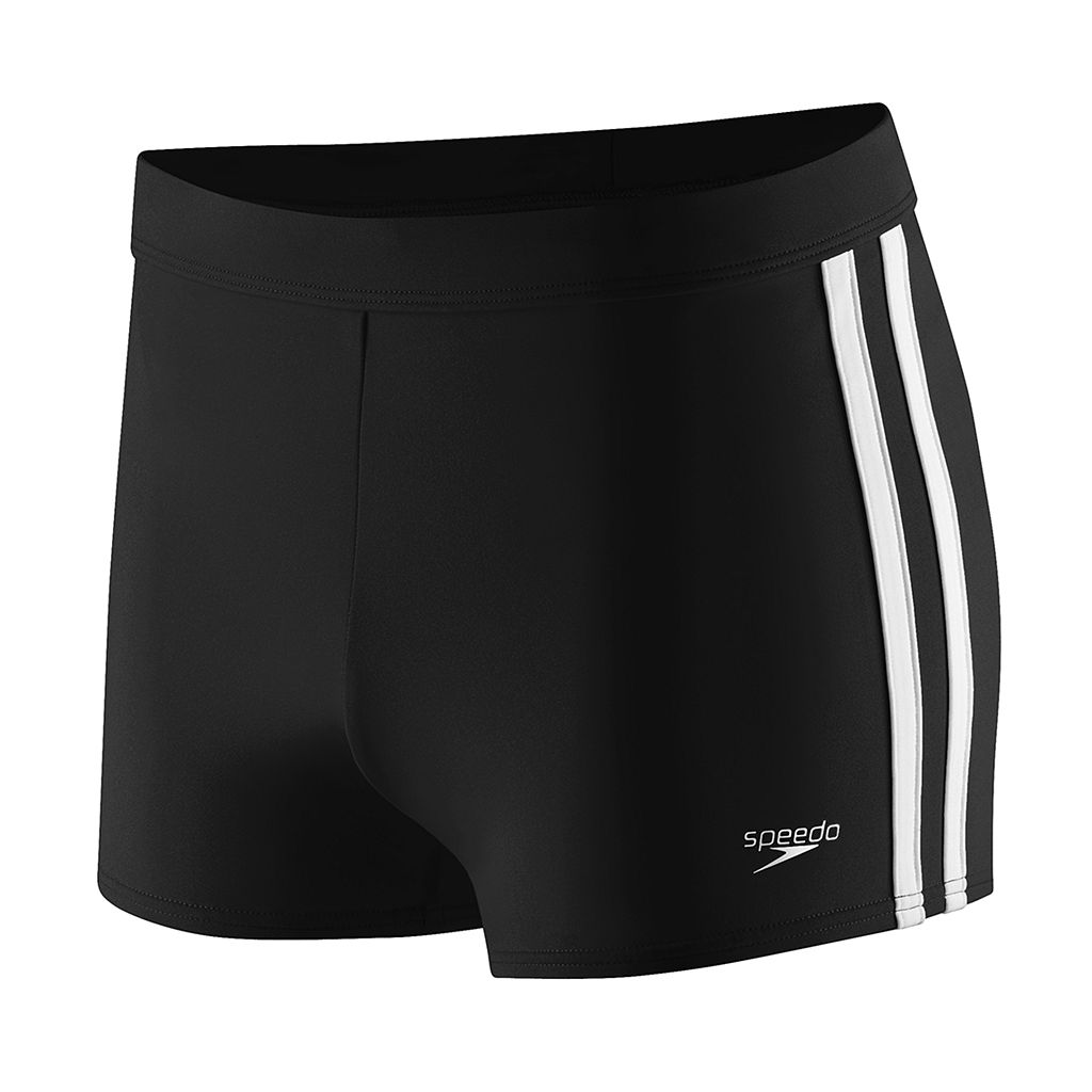 Speedo Shoreline Square Leg Side-Striped Athletic Swim Shorts - Men