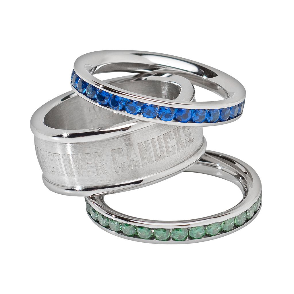 LogoArt Vancouver Canucks Stainless Steel Crystal Stack Ring Set