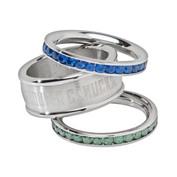 LogoArt Vancouver Canucks Stainless Steel Crystal Stack Ring Set