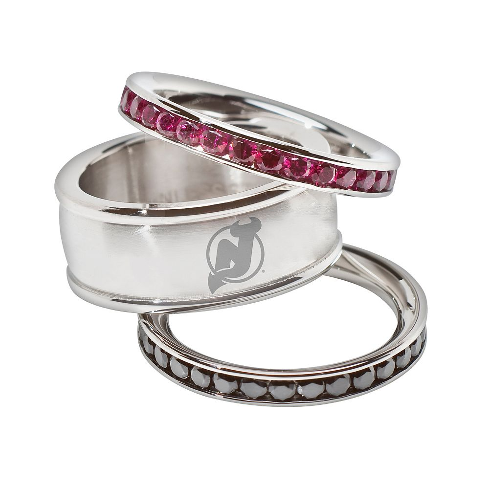 LogoArt NHL New Jersey Devils Stainless Steel Crystal Stack Ring Set