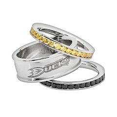 LogoArt NHL Anaheim Ducks Stainless Steel Crystal Stack Ring Set
