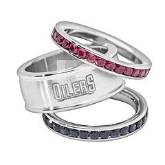 LogoArt Edmonton Oilers Stainless Steel Crystal Stack Ring Set