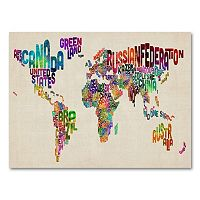 22'' x 32'' ''Typography World Map II'' Canvas Wall Art by Michael Tompsett